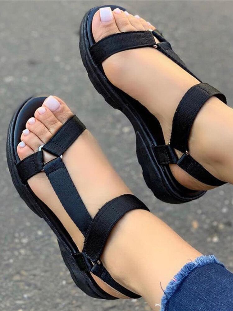 Tamanho grande feminino dedo aberto diariamente Soft sandálias rasteiras Gancho loop