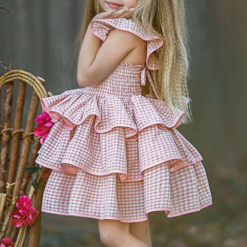 Girls Hollow Out Neck Fluffy Plaid Multi Princess Layers Dress For 1Y-7Y