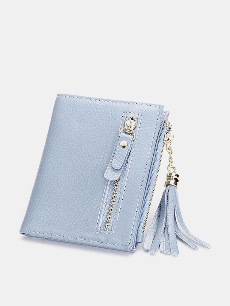 Genuine Leather Tassel Stylish Short Wallet Card holder Candy Color Purse