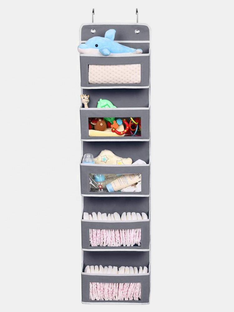 Hangerlink Over The Door Organizer With 5 Large Pocket Clear Windows Wall Hanging Storage For Pantry Baby Nursery Bathroom
