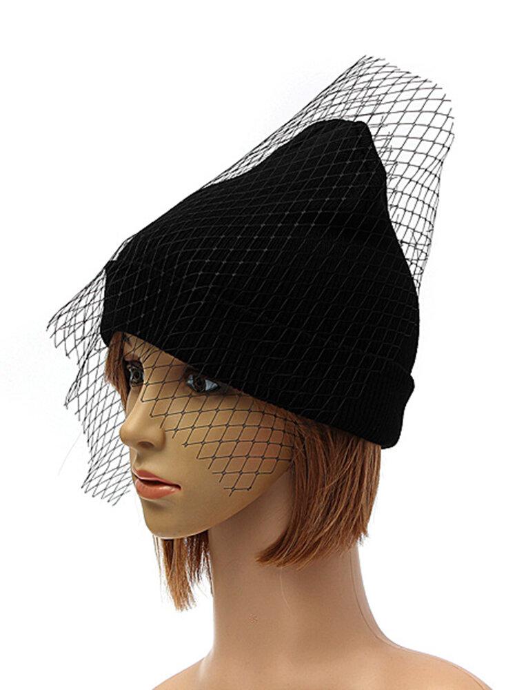 Women Girls Retro Dress Hat Mesh Net Veil Knitting Beanie Hats