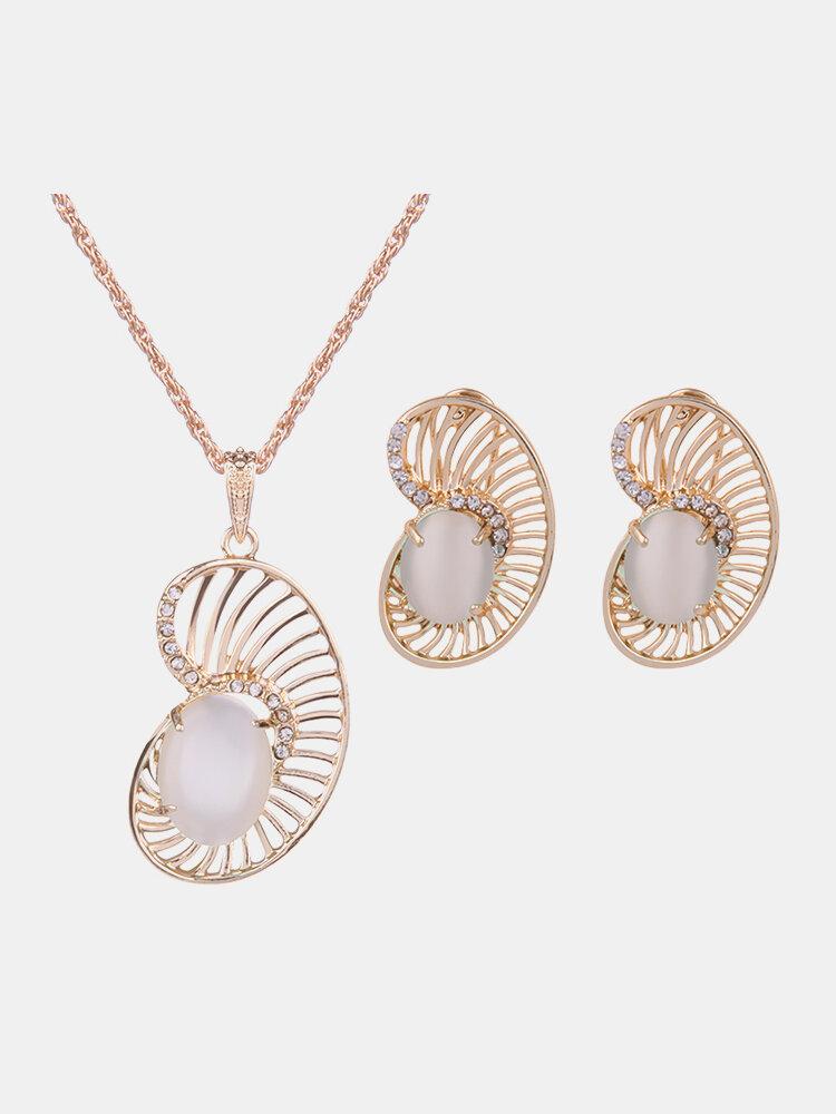 Elegant Jewelry Set Rhinestone Opal Earrings Necklace Set