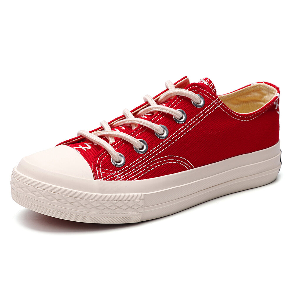 Women Canvas Lace Up Stitching Casual Flat Shoes