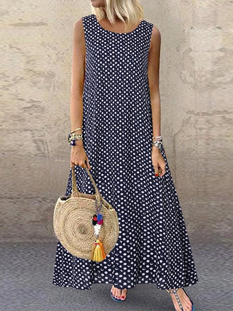 Casual Polka Dot Print Sleeveless Plus Size Dress with Pockets