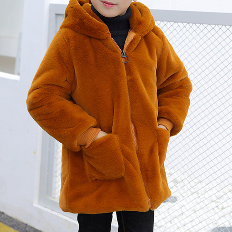 Thicken Fleece Girls Hooded Pockets Winter Coats For 3Y-15Y