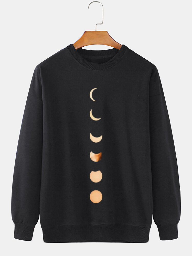 Mens Moon Graphic Print Cotton Crew Neck Relaxed Fit Casual Sweatshirt