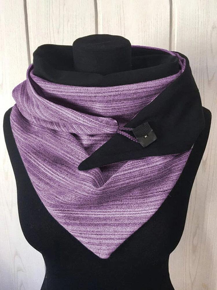 Женский универсальный толстый теплый шарф в полоску с принтом