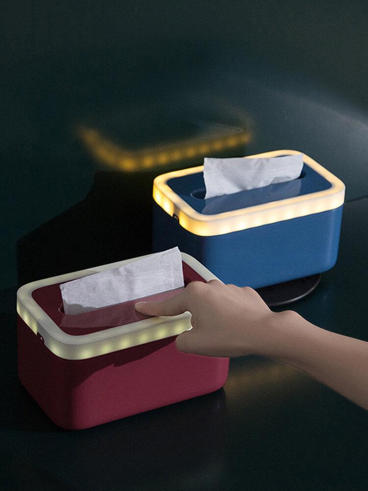 Waterproof Tissue Holder Bathroom Napkin Dispenser Tissue Box with Night Lights
