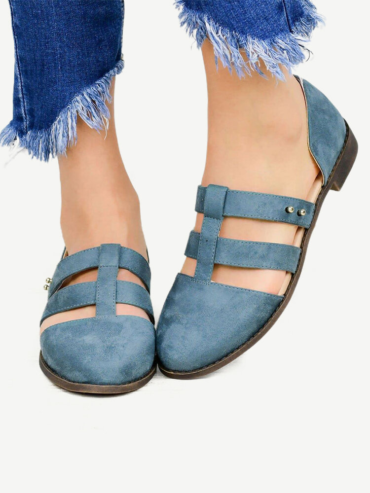 Women Splicing Cut Out Comfy Breathable Wearable D'Orsay Flats