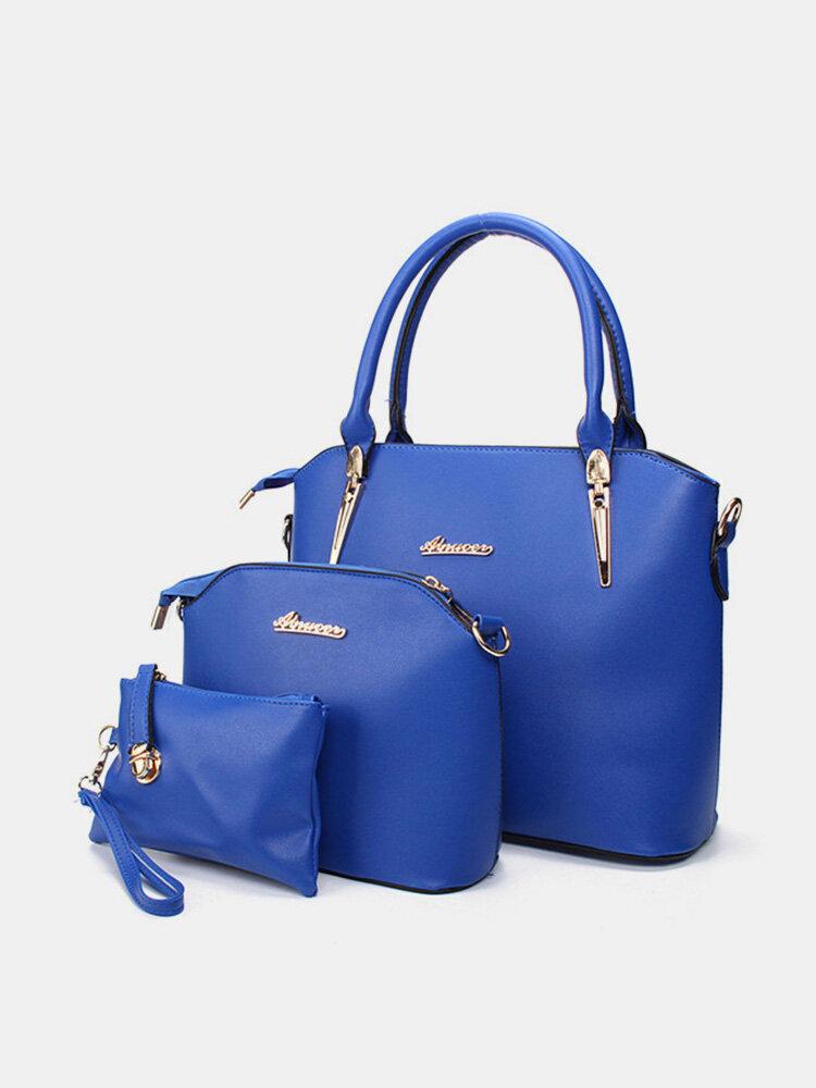 Women Rivet Shoulder Bags Set 3PCS Casual Tote Handbags