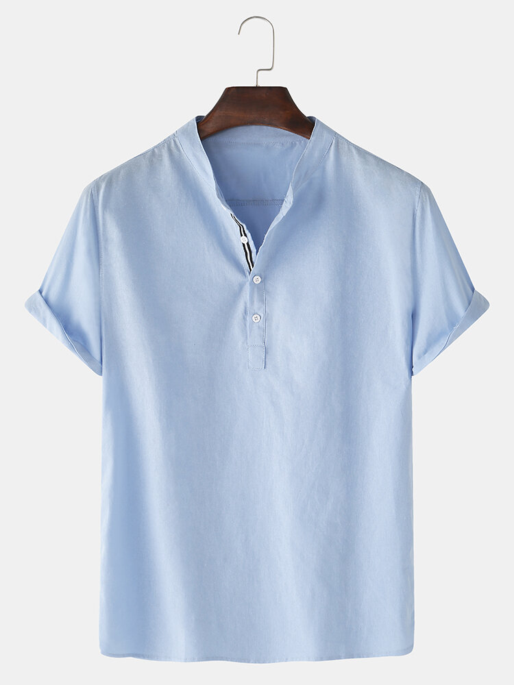 Mens Solid Color Cotton Linen Stand Collar Casual Short Sleeve Henley Shirts