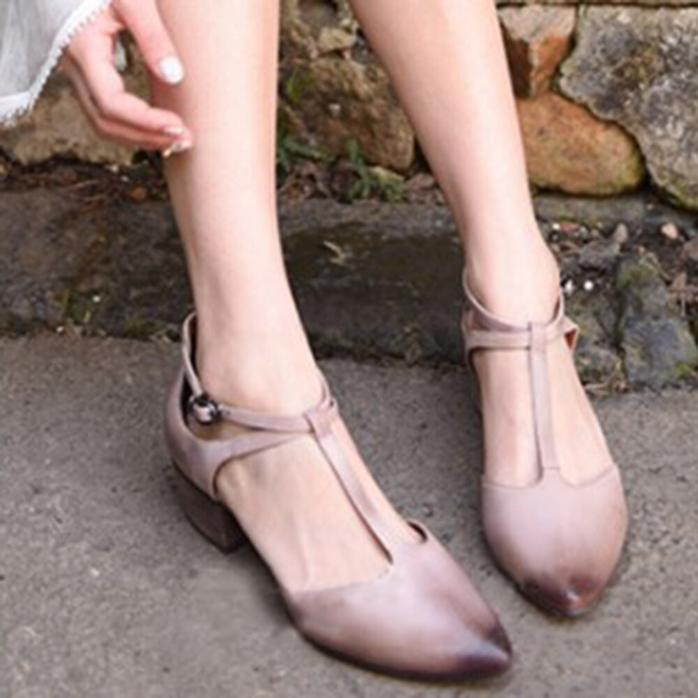 Large Size Women Retro Pointed Closed Toe T Strap Buckle Chunky Heels Pumps