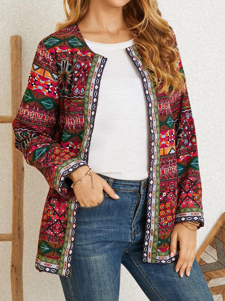 Giacche a maniche lunghe con tasche patchwork con stampa etnica vintage Ribbon
