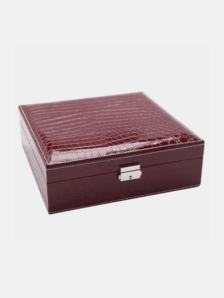 Mirror Lock Leather Storage Organizer Jewelry Box