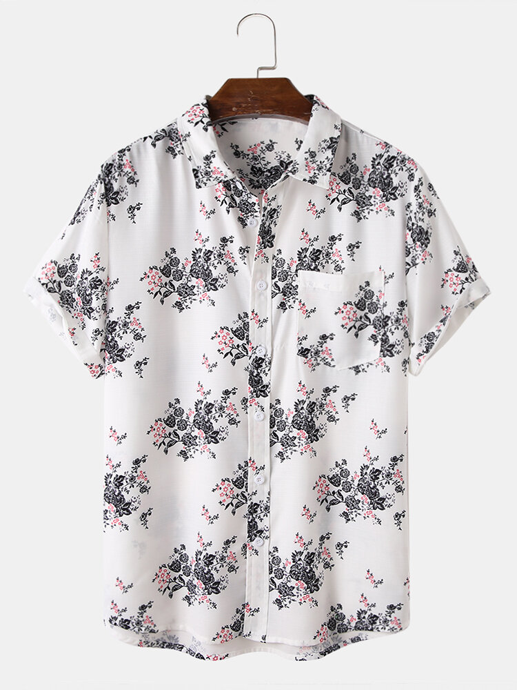 Mens All Over Plant Floral Print Chest Pocket Holiday Short Sleeve Shirt