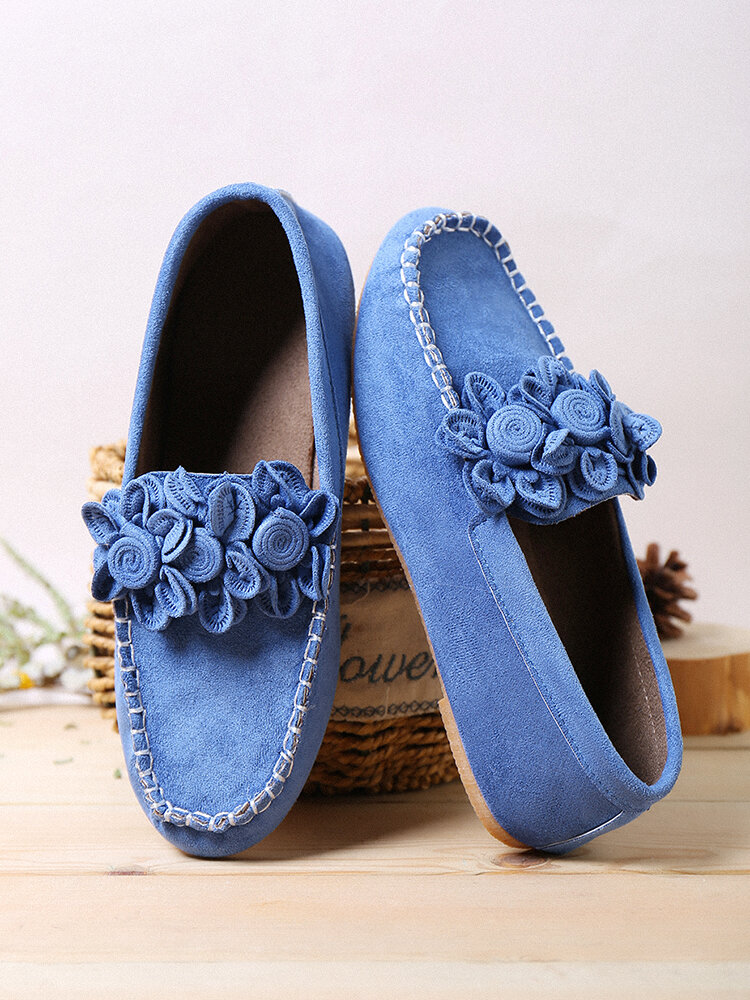 Large Size Women Flower Decor Loafers Solid Color Slip-on Low Top Flat Shoes