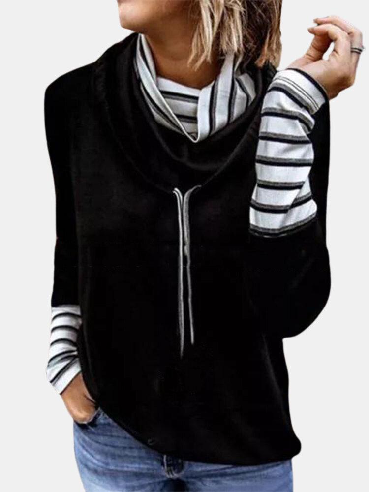 Striped Patchwork Long Sleeve High Neck Drawstring Sweatshirt For Women