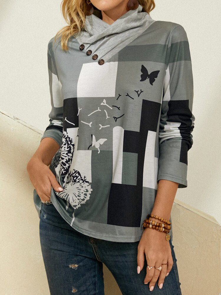 Dandelions Butterfly Plaid Print Color Block Long Sleeve T-Shirt