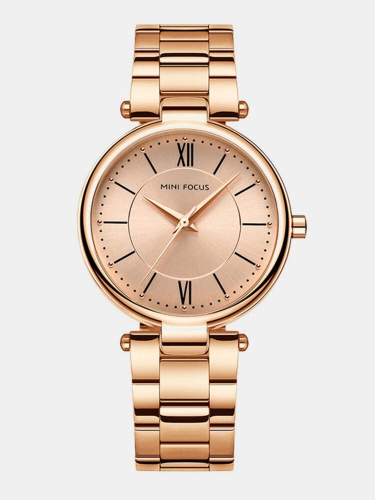 ミニフォーカスファッション腕時計マルチカラーステンレスストラップローマ数字ダイヤル時計女性用