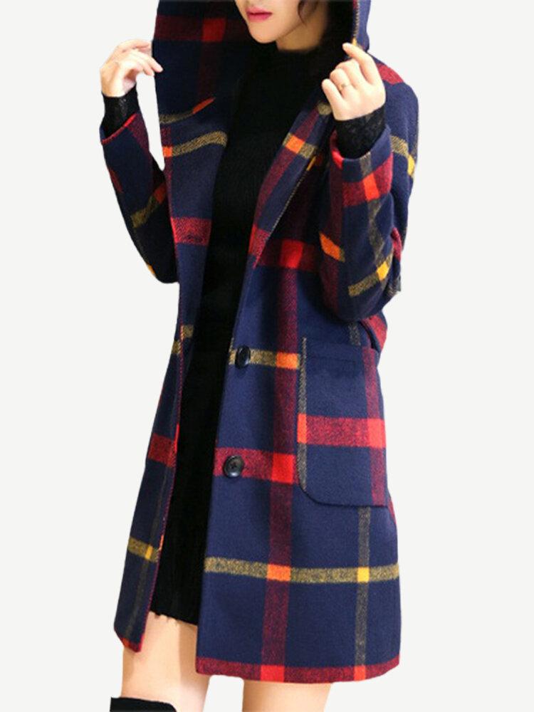 Повседневная куртка с капюшоном и длинными рукавами в клетку для Женское