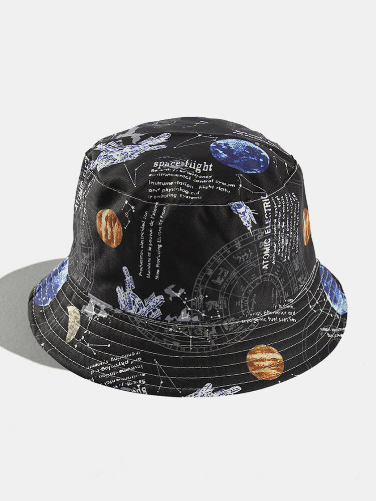 Women & Men Double-sided Starry Sky Letters Painting Windproof Soft All-match Travel Bucket Hat