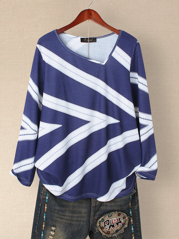 Women Striped Print Knitted Long Sleeve V-neck Plus Size Blouse