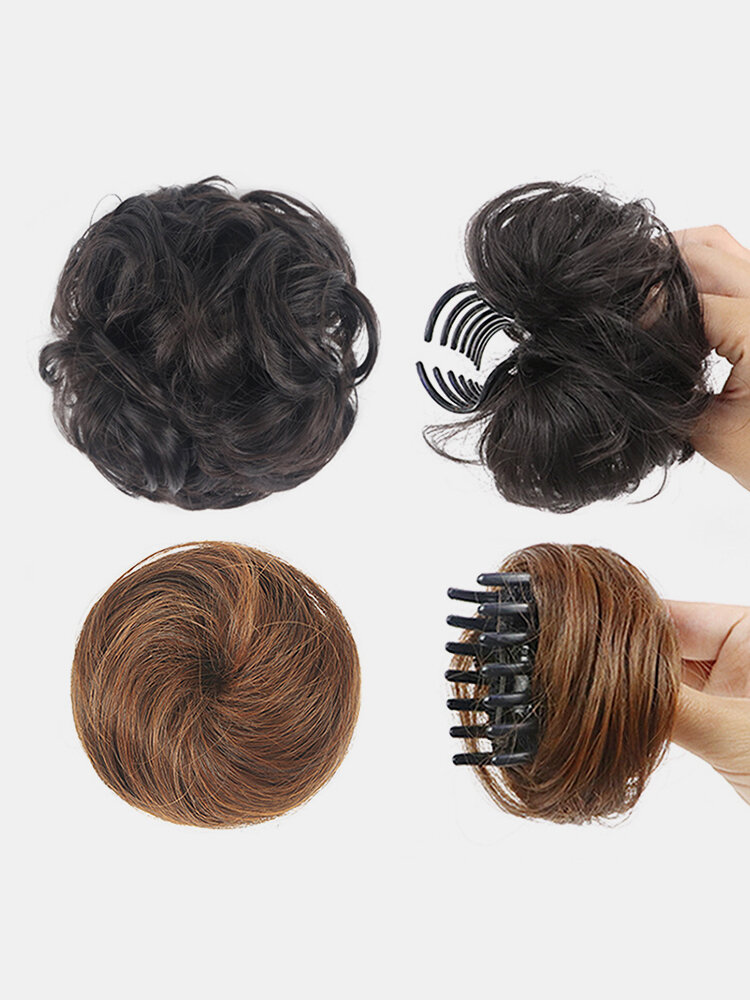 8 Colors Catch Clip Short Curly Hair Extensions Half-Ball Head Bridal Fluffy Wig Bag