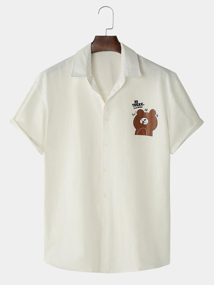 Mens Cartoon Bear Chest Print Cotton Cute Short Sleeve Shirts