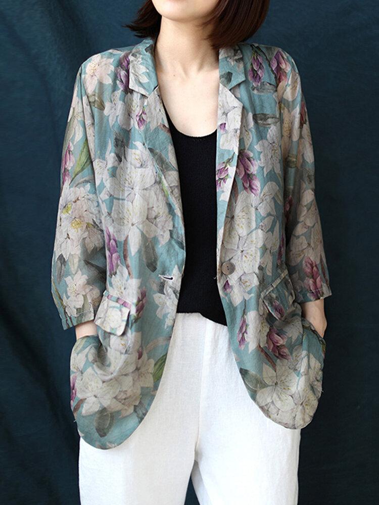 Flower Print Pockets Vintage 3/4 Sleeve Jacket