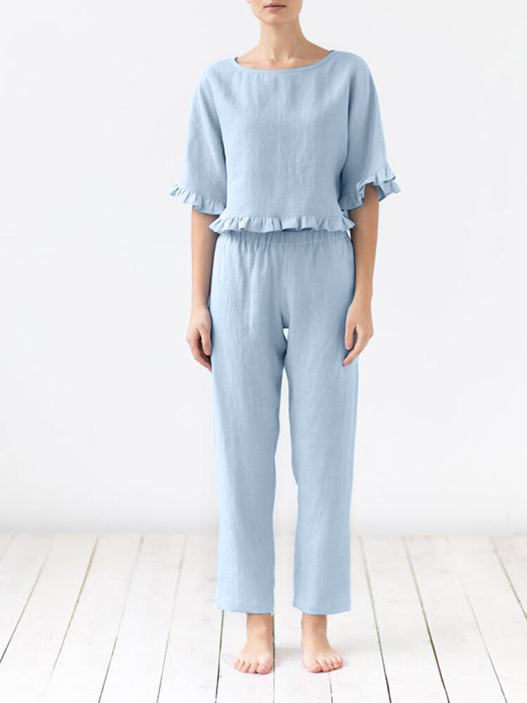 Solid Color Ruffle O-Neck Suit Women Casual Set