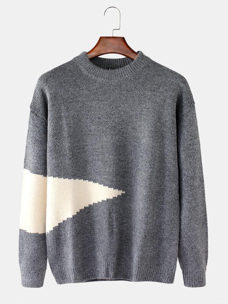 Pull chaud en coton à col rond en tricot de couleur contrastante - Newchic - Modalova
