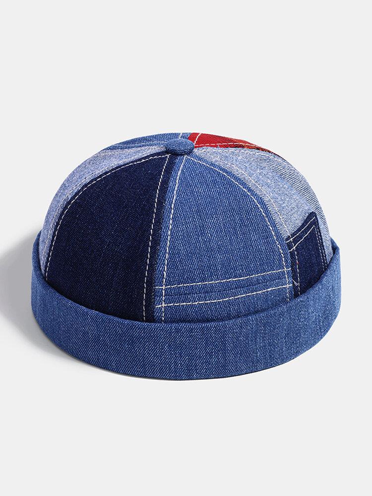 Men & Women Fashion Denim Patch Plaid Stitching Landlord Hat Skull Caps