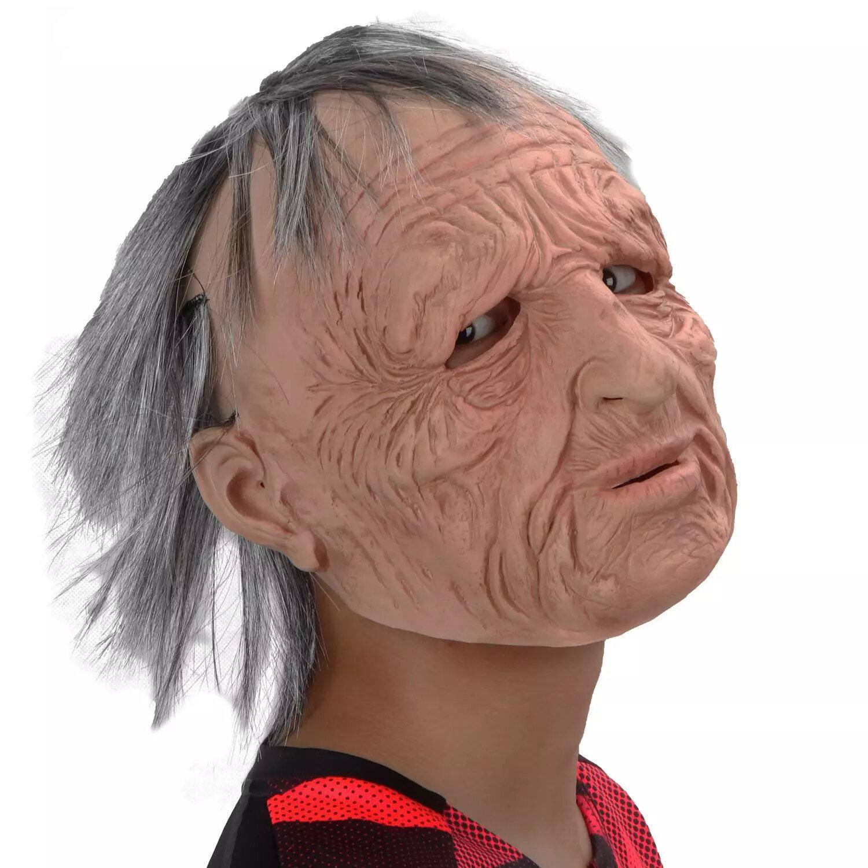 Halloween vieil homme effrayant perruque masque Cosplay effrayant pleine tête Latex masque horreur fête masque