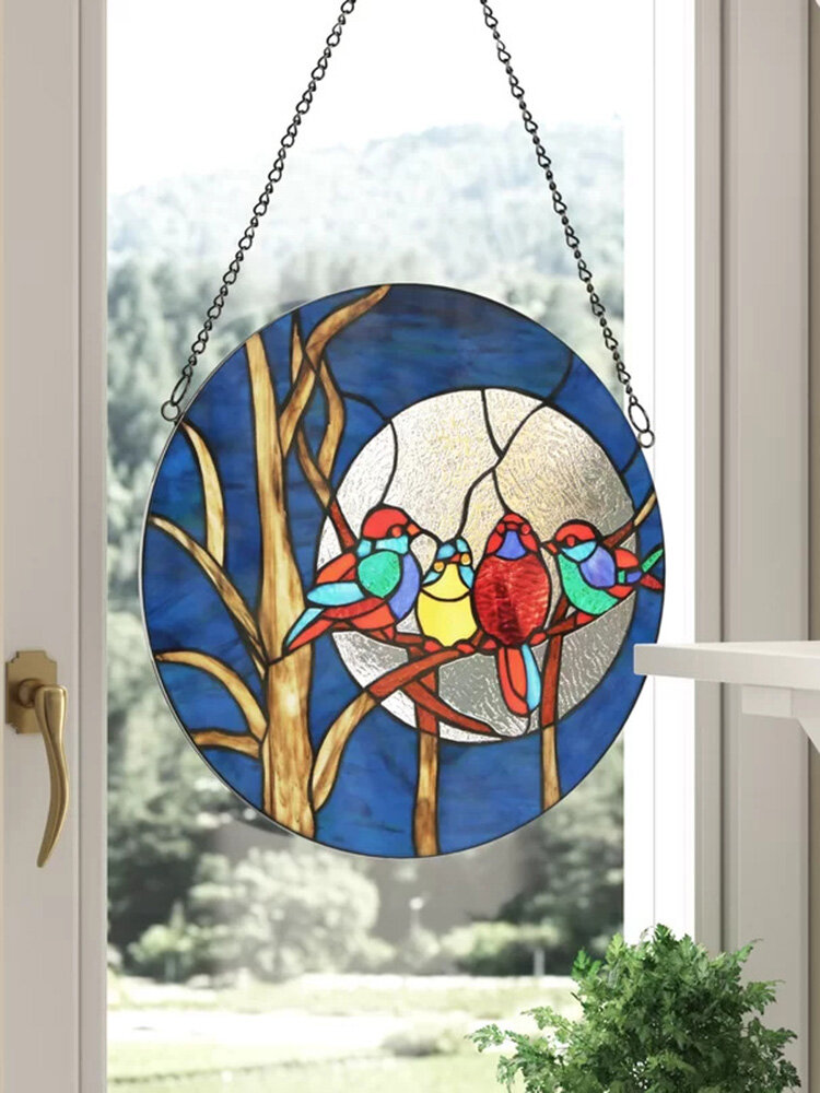 1 PC Home Decoration Stained Suncatcher Window Hangings  Disc Pendant Acrylic Wall Hang Birds Room Curtain Decoration