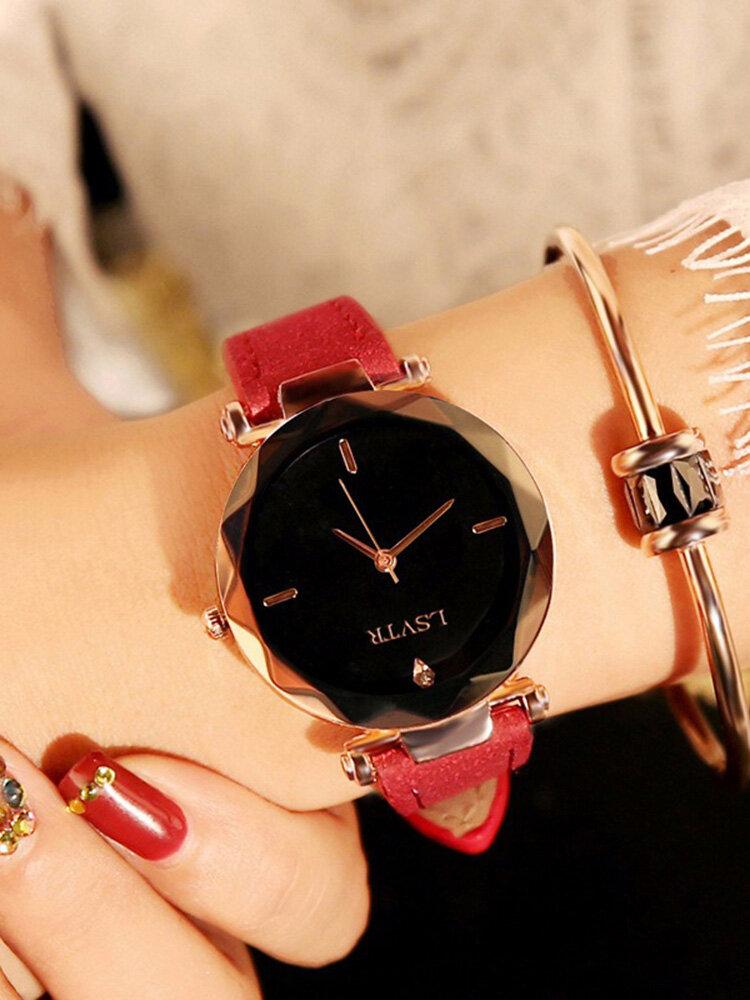Fashion Quartz WristWatch Thin Stainless Steel Black White Round Dial Leather Strap Watch for Women