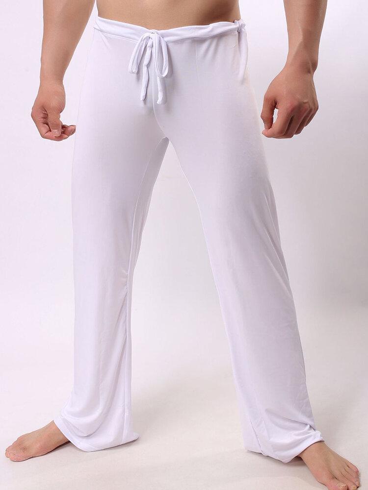 Casual Home Nylon Yoga Pantalón Pantalón suelto Loungewear Weekend Ice Silk Stretch Ropa de dormir Bottoms para hombre