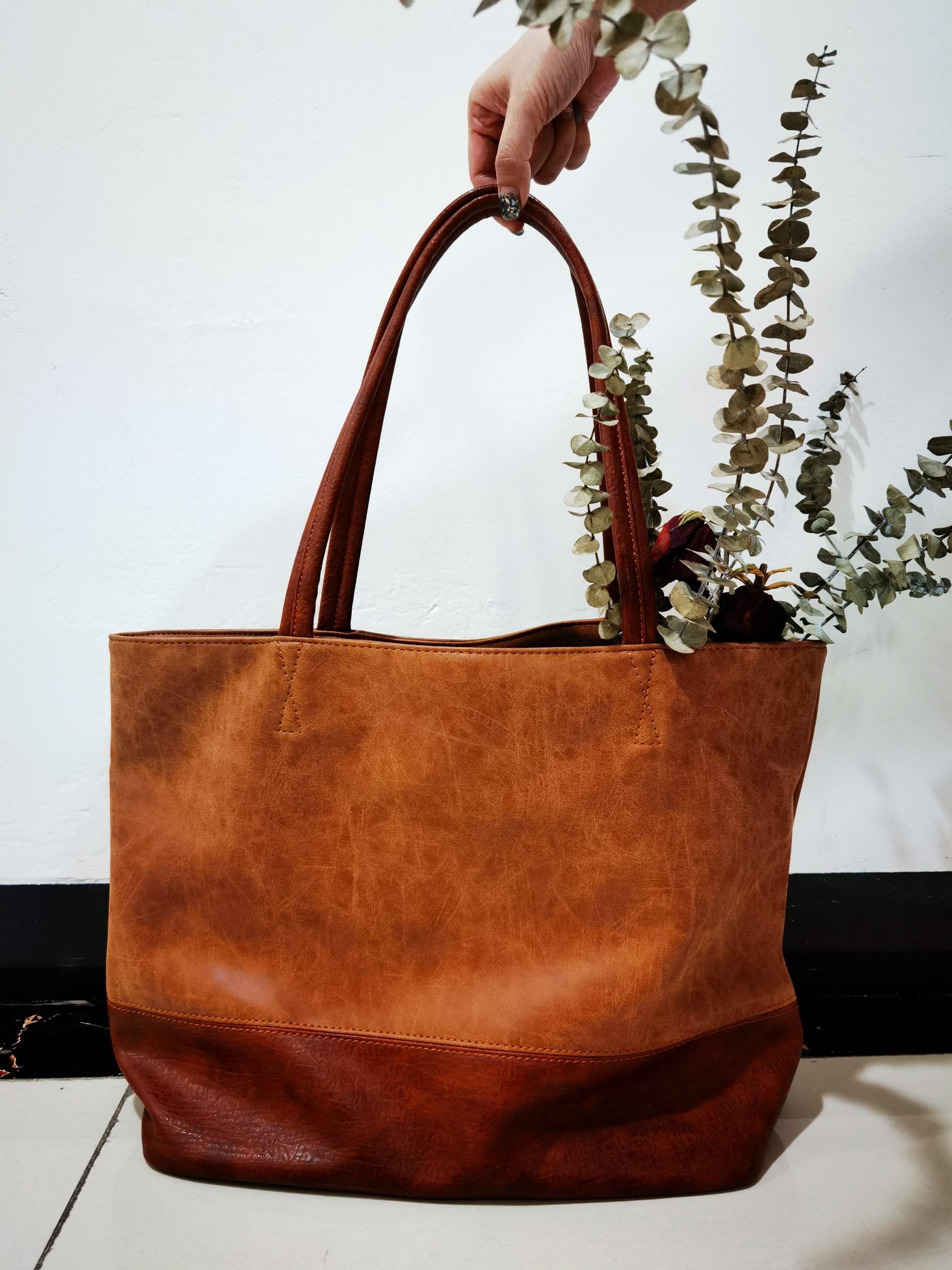 Women Patchwork Vintage PU Leather Shoulder Bag Handbag Tote