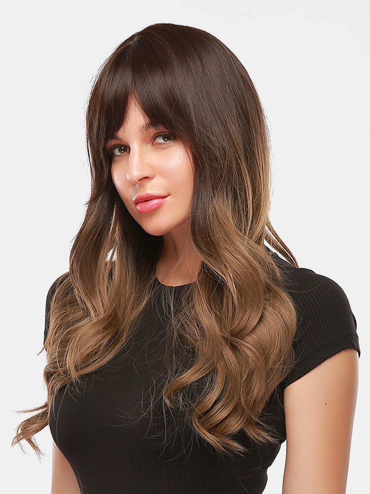 28 Inch Brown-Gold Gradient Long Curly Hair Middle Part Long Bangs Full Head Cover Wigs