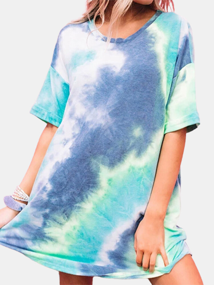 Tie-dyed Print Short Sleeve Loose Casual Dress For Women