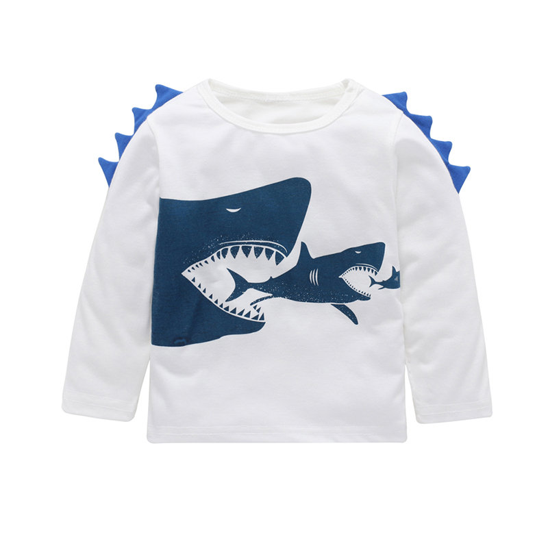 Sharks Printed Girls Boys Long Sleeve Cotton T-Shirt For 2Y-9Y