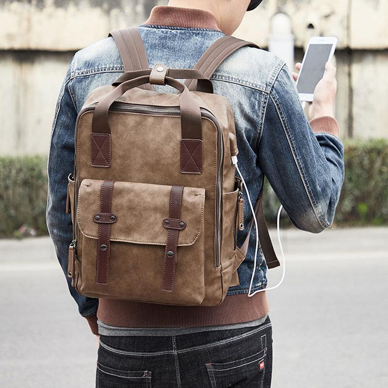 Мужской многофункциональный USB-зарядный рюкзак Сумка Solid большой емкости