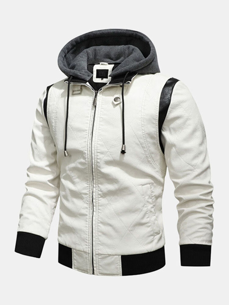 Mens Patchwork Zip Front Drawstring Hooded PU Jackets With Pockets