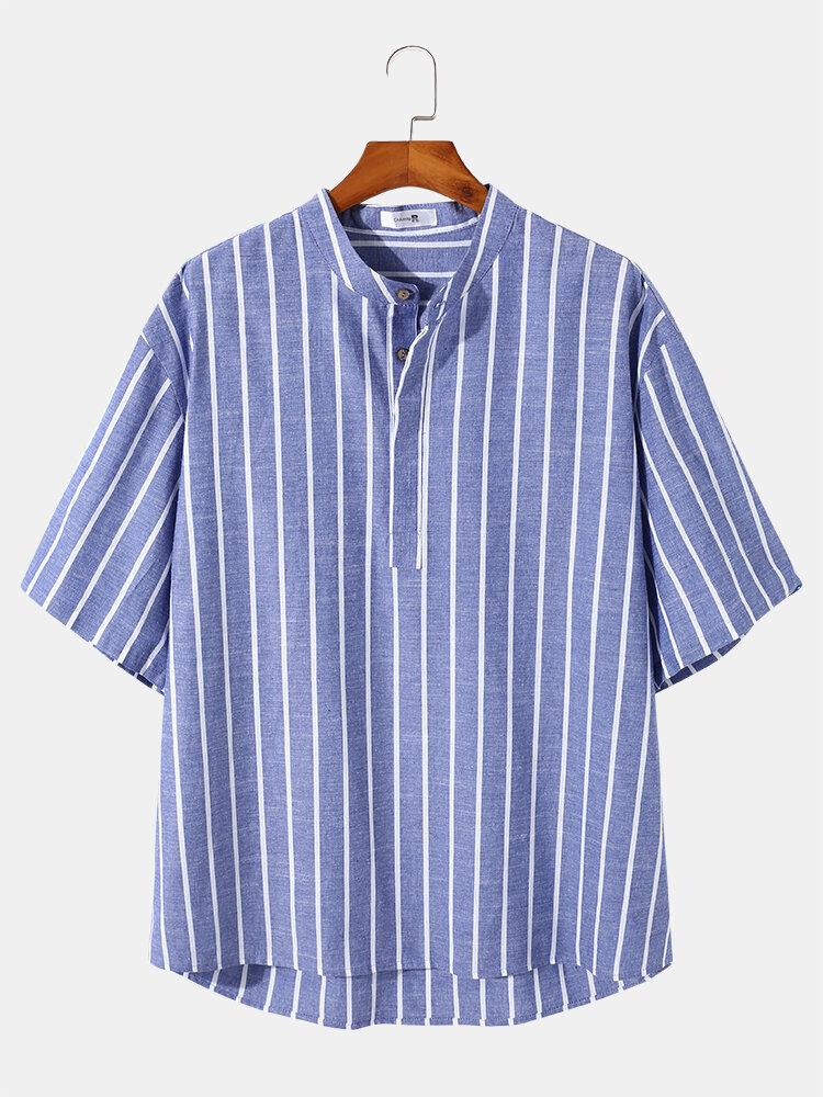 Plus Size Mens Stripes Blue Short Sleeve High-lowHem Casual Henley Shirt