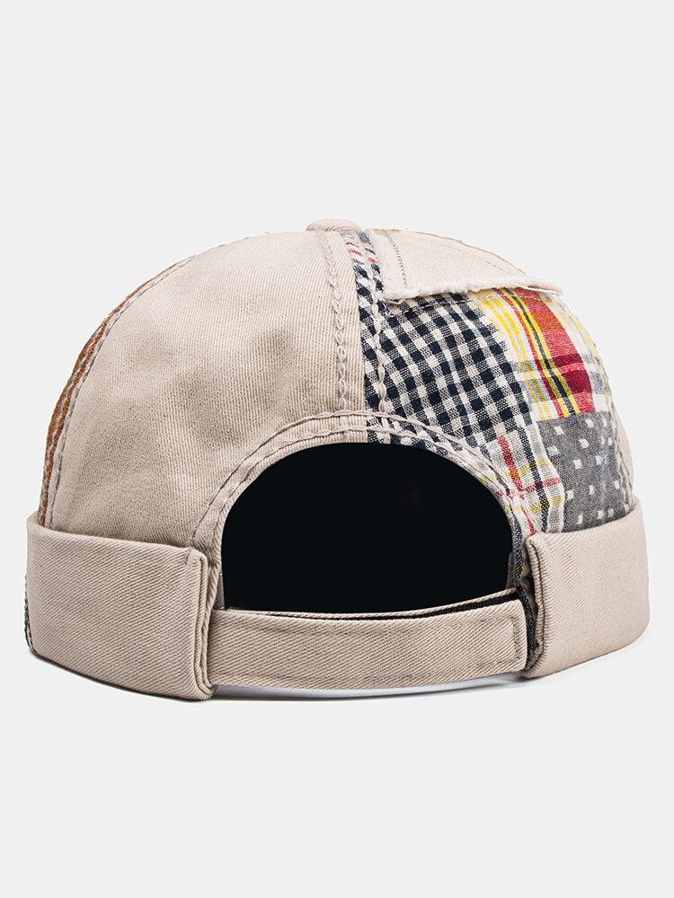 Unisex Cotton Patchwork Color-match Brimless Beanie Landlord Cap Skull Cap