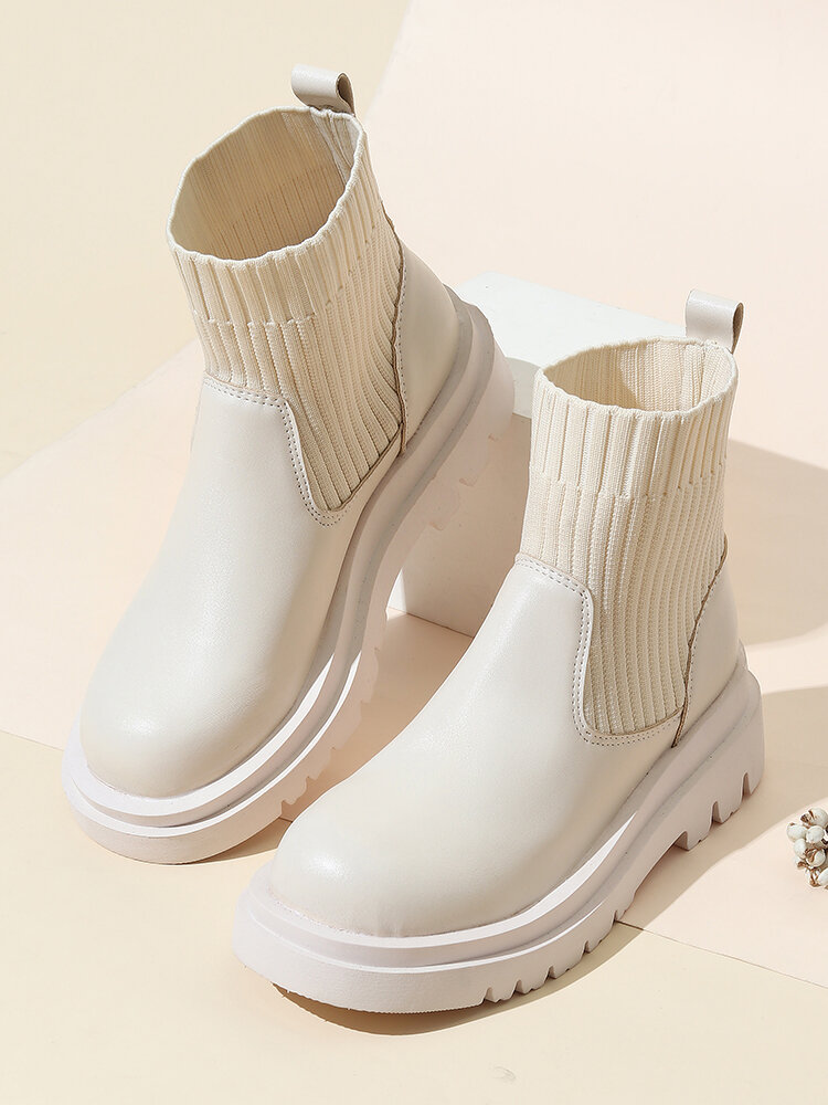 Women Casual Elastic Slip-On Solid Color Platform Shoes Comfy Stretch Knit Sock Boots