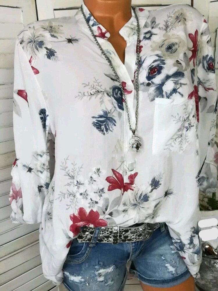 f5cf6572ba7ba6 Floral Print Stand Collar Long Sleeve Chiffon Blouse Cheap - NewChic
