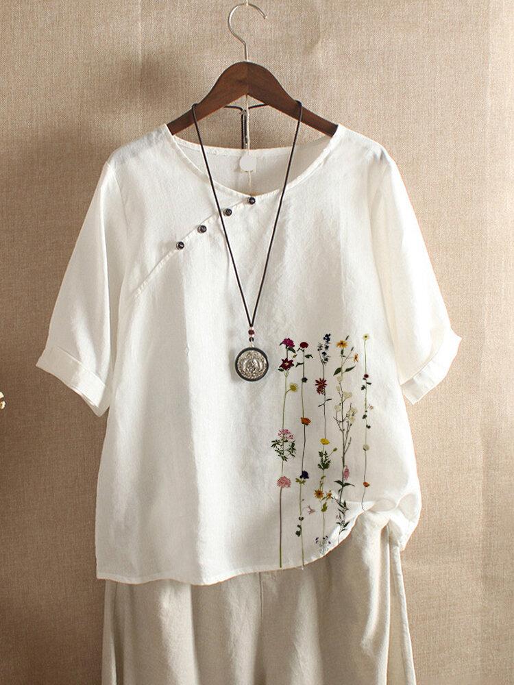 女性のための花柄プリント半袖ボタンTシャツ