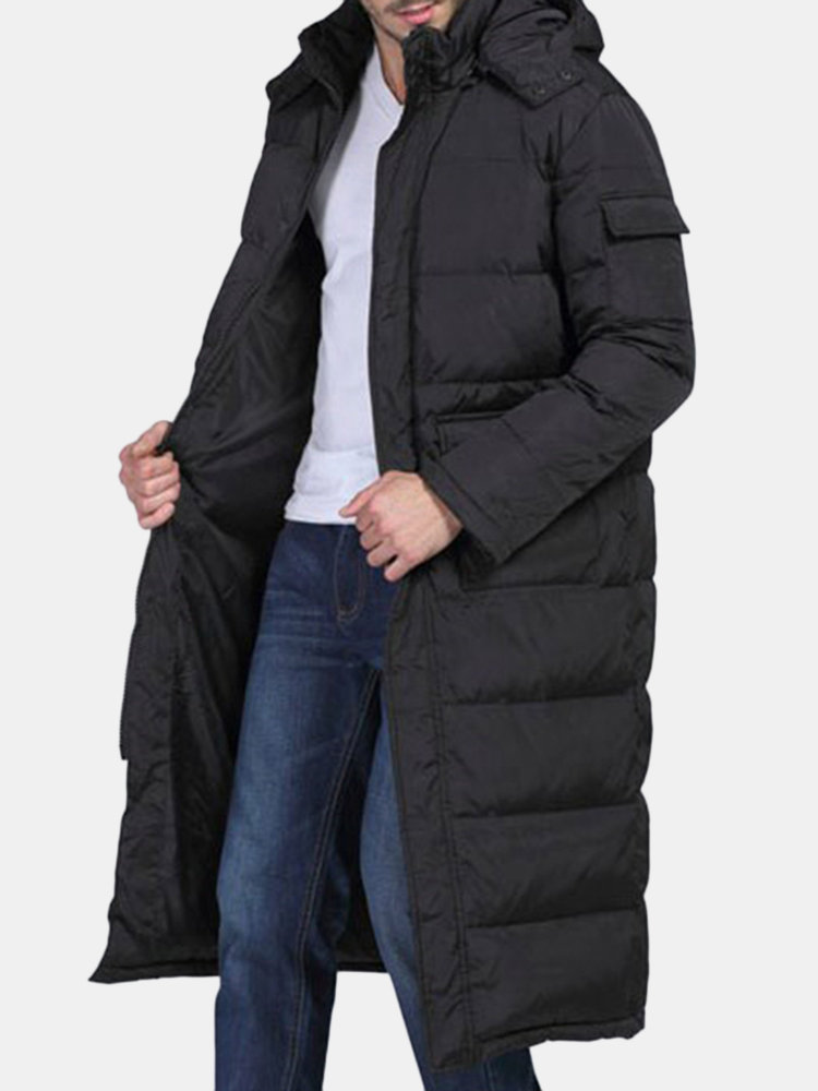 Mens Winter Outdoor Windproof Mid Length Pockets Solid Color Hooded Coat