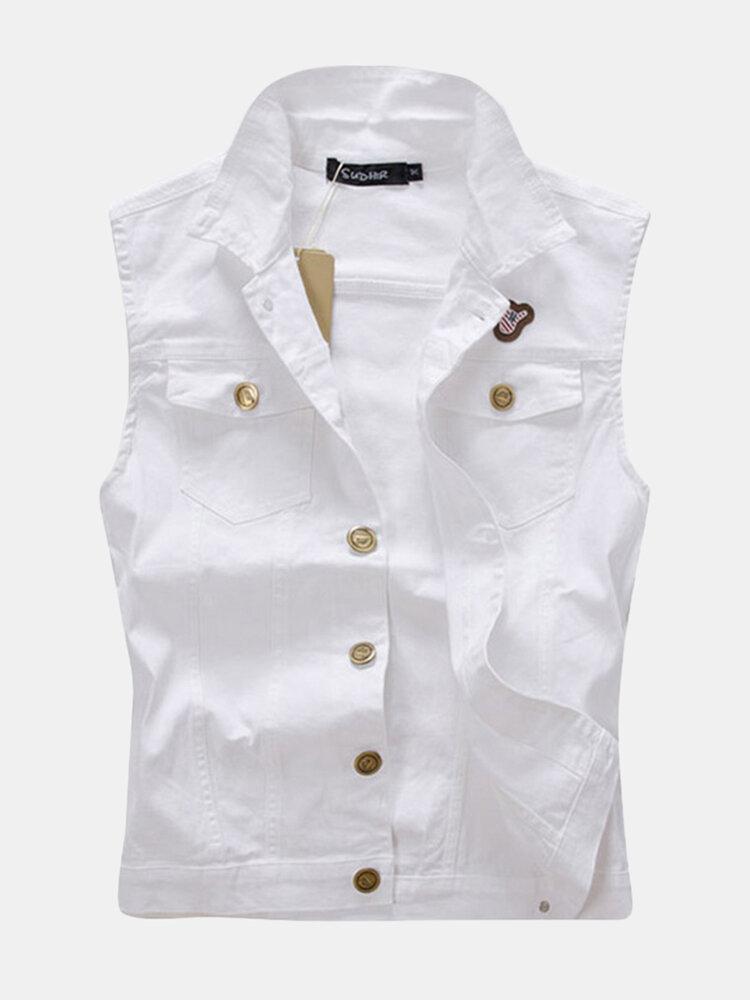 White Chest Pockets Slim Denim Vest for Men