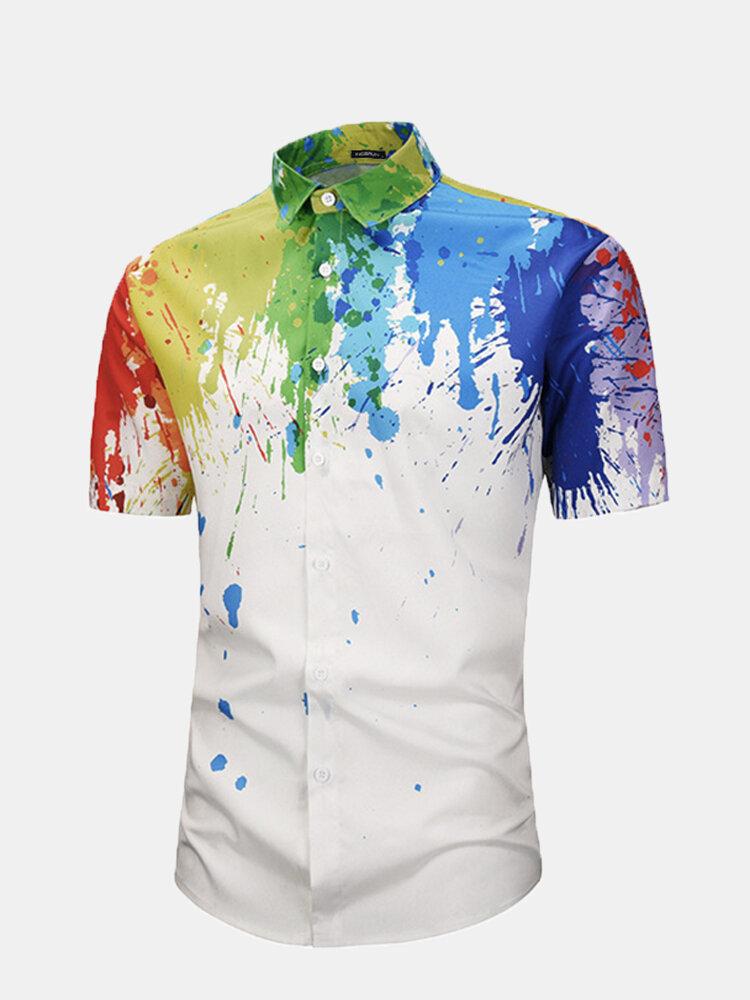 Mens 3D Colorful Abstract Splash-Paint Graffiti Doodle Printed Short Sleeve Shirt